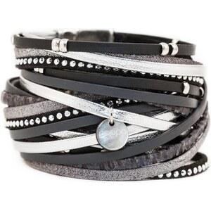 Poapo Jean-Baptiste - Bracelet manchette avec lanières en cuir - noir