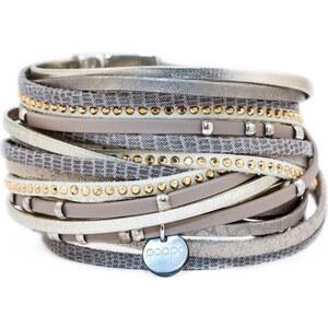 Poapo Jean-Baptiste - Bracelet manchette avec lanières en cuir - beige