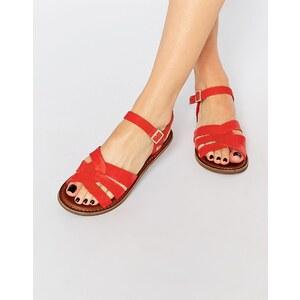 TOMS - Zoe - Flache Sandalen aus rotem Leder - Rot