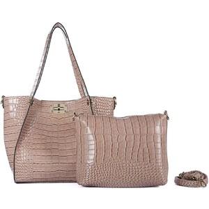 Inès Delaure Shopping Bag + Täschchen - maulwurfsgrau Reptiloptik