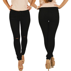 Lesara Jeans slim avec découpes sur les genoux