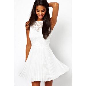 SheInside White Sleeveless Hollow Lace Backless Pleated Dress