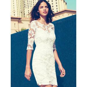 SheInside White Half Sleeve Floral Crochet Lace Dress