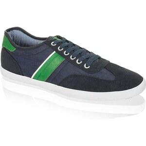Leder-Textil-Sneaker Fake blau