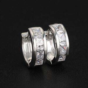 Lesara Creolen mit Zirkonia-Steinen klassisch - Silber