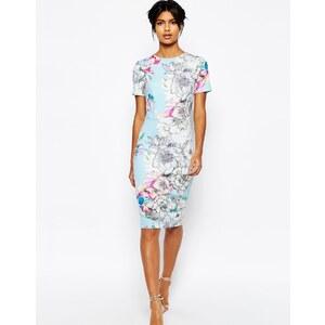 ASOS - Robe t-shirt moulante mi-longue en néoprène à fleurs - Bleu