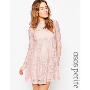ASOS PETITE - Babydoll-Kleid aus Spitze - Blush