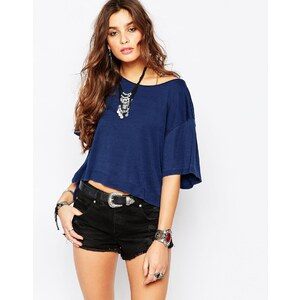 Free People - Penny - T-shirt délavé - Indigo - Bleu