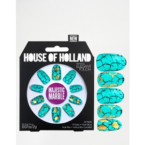 House Of Holland Nails By Elegant Touch - Faux-ongles - Majestic Marble - Bleu