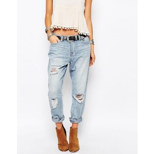 Only - Lima - Boyfriend-Jeans im Distressed-Look - Blau