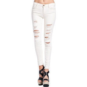 J BRAND super skinny mid rise jeans with rips