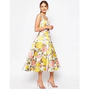 ASOS - Robe de bal de fin d'année mi-longue avec nœud sur le devant et imprimé fleurs jaunes et roses - Multi
