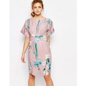Closet London Closet - Geblümtes Kleid mit Kimono-Ärmeln und Schnürband vorne - Mehrfarbig