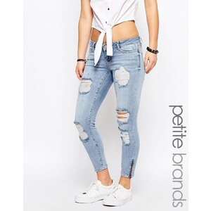 Noisy May Petite - Eve - Superenge Jeans mit Reißverschluss am Knöchel - Blau