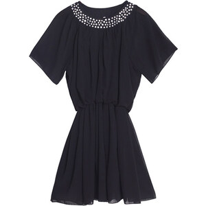 Lesara Kleid mit Fledermausärmeln - Schwarz - XL