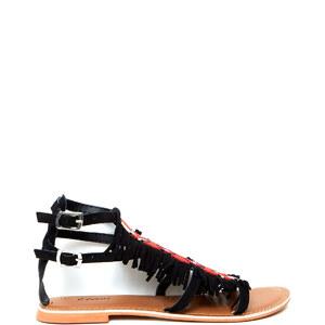 Sandales plates brodées avec des perles, détails franges Etam