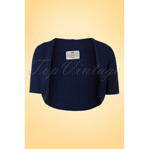 Collectif Clothing 50s Blossom Bolero in Navy