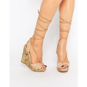 Call It Spring - Treawen - Sandalen mit Ghillie-Schnürung und Keilabsatz - Nude