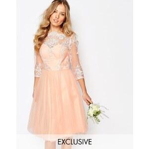 Chi Chi London - Robe mi-longue style Bardot avec jupe en tulle et dentelle de qualité supérieure - Rose
