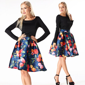 Lesara Kleid in X-Linie mit Blumen-Rock - M