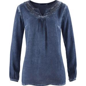 bpc bonprix collection Tunique cold dye, manches longues bleu femme - bonprix