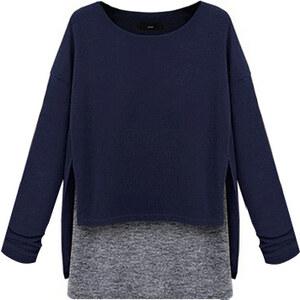 Lesara Sweater im Lagen-Look - Blau - L