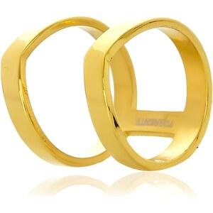 Torrente Double Pointes - Bague en acier plaqué or - doré
