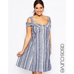 ASOS CURVE - Schulterfreies Midi-Sommerkleid mit Streifen - Mehrfarbig