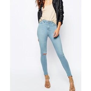 ASOS- RIDLEY - Jean skinny longueur cheville avec déchirures aux genoux et abrasions sur les poches - Délavage moyen Surf - Bleu