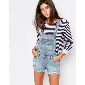 Pull&Bear - Salopette en jean avec poche zippée - Bleu