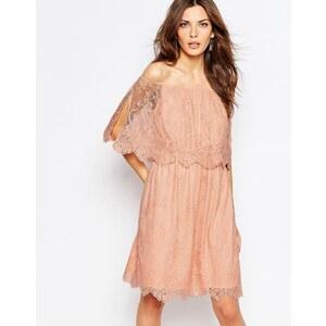 Vila - Zweilagiges Bardot-Kleid aus Spitze - Rosa
