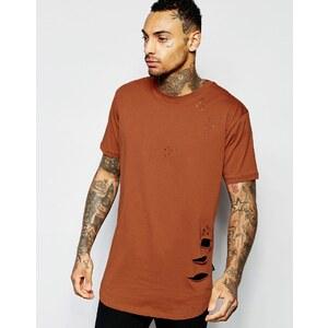 Criminal Damage - T-shirt coupe longue effet vieilli - Rouge