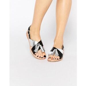Vero Moda Premium - Sandales en cuir métallisé avec pampilles - Multi