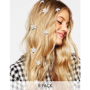 ASOS - Set mit 8 Haarspangen mit kleinen Glitzerblumen - Weiß