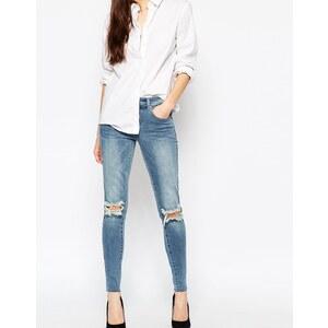 Vila Enge Jeans mit Knierissen - Blau