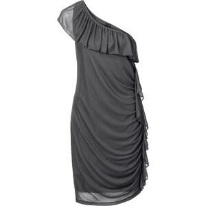 BODYFLIRT One-Shoulder-Kleid mit Volants ohne Ärmel in grau von bonprix