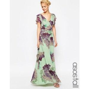 ASOS TALL - Nachmittags-Maxikleid mit Blumenmotiv und Rüschen - Mehrfarbig