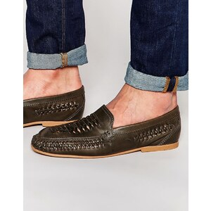 ASOS - Gewebte Loafer aus grauem Leder - Grau