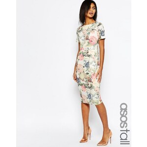 ASOS TALL - Occasion - Schmales Kleid mit geblümtem Tapetenmuster - Mehrfarbig