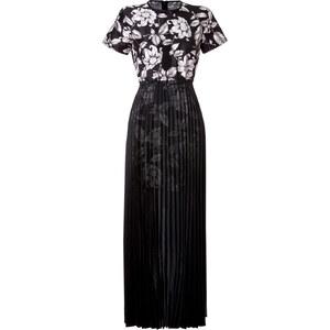 Ostwald Helgason Floral Print Silk Dress with Pleated Skirt Overlay