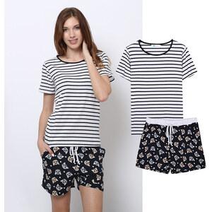 Lesara 2-teiliges Schlafanzug-Set T-Shirt & Shorts Katze - M