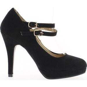Chaussmoi Chaussures escarpins Escarpins noirs à talon de 11cm aspect daim avec plateau et 2 br