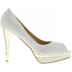 Chaussmoi Chaussures escarpins Escarpins bouts ouverts blancs pailletés à talons de 10.5cm et p