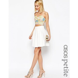 ASOS PETITE - Mini-jupe plissée en néoprène - Blanc
