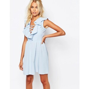 Fashion Union - Robe à volants et laçage - Bleu