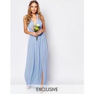 TFNC WEDDING - Robe longue dos-nu en mousseline - Bleu