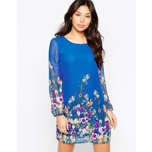 Yumi - Robe droite à manches longues et imprimé jardin - Bleu