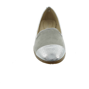 Lesara Loafer in Veloursleder-Optik - Silber - 36