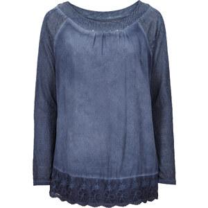 BODYFLIRT Longtunika mit Materialmix langarm in blau für Damen von bonprix
