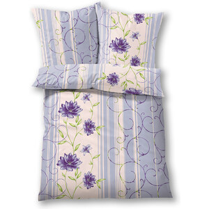 bpc living Bettwäsche Blume, Linon in lila von bonprix